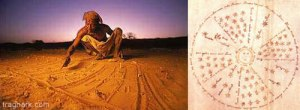 Dogon holy people use sticks to scratch a rough diagram of the Dog Star