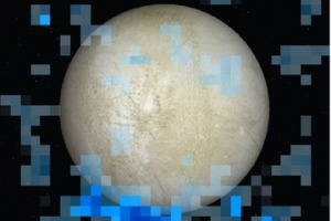 Astronomers search for water near the south pole of Europa by looking for the presence of both hydrogen and oxygen