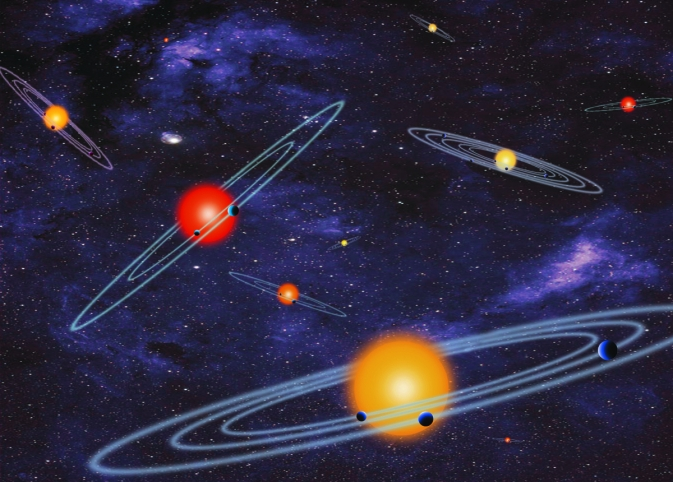 This artists conception of depicts multiple-transiting planet systems seen edge-on from the vantage point of the viewer
