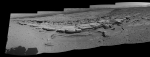 The 160 degree panorama here was taken by the Curiosity Mars Rover.