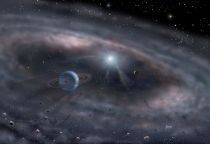 Planets form around a young star in this artist's concept. Using the Keck Interferometer in Hawaii, astronomers have probed the structure of a dust disk ...