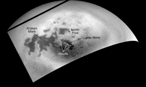 NASA's Cassini Orbiter captured images of clouds active over the northern seas of Titan