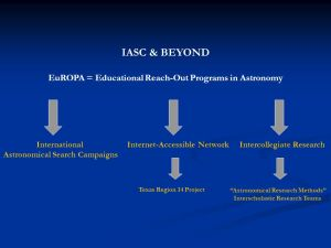 The IASC plans and campaigns are expected to drive the human journey to the beginning of space and time forward