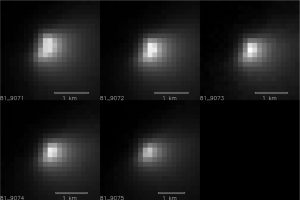 Five images of comet C/2013 A1 Siding Spring taken within a 35-minute period as it passed near Mars on Oct. 19, 2014, provide information about the size of the comet's nucleus. These observations by the High Resolution Imaging Science Experiment (HiRISE) camera on NASA's Mars Reconnaissance Orbiter suggest that the nucleus is smaller than 1.2 miles (2 kilometers) across.