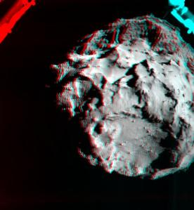 This 3D image shows what it would look like to fly over the surface of comet 67P/Churyumov-Gerasimenko. The image was generated by data collected by the Rosetta Lander Imaging System (ROLIS) aboard the European Space Agency's Philae spacecraft during the decent to the spacecraft's initial touchdown on the comet Nov. 12.