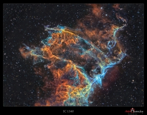 A detail image of the Veil Nebula supernova remnant. Angular size about the same as full Moon