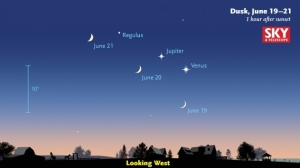 On June 30 Venus and Jupiter will appear as one big double star in the night sky.
