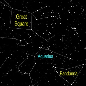 Between the Great Square of Pegasus and the Bandanna of Capricornus lies the rather nondescript constellation of Aquarius the Water Bearer.