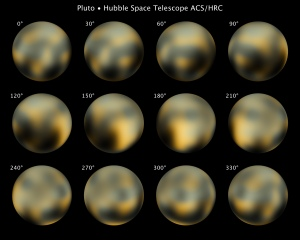 This is the most detailed view to date of the entire surface of the dwarf planet Pluto, as constructed from multiple NASA Hubble Space Telescope photographs taken from 2002 to 2003. The center disk (180 degrees) has a mysterious bright spot that is unusually rich in carbon monoxide frost. Pluto is so small and distant that the task of resolving the surface is as challenging as trying to see the markings on a soccer ball 40 miles away. Credit: NASA, ESA, and M. Buie (Southwest Research Institute). Photo No. STScI-PR10-06a