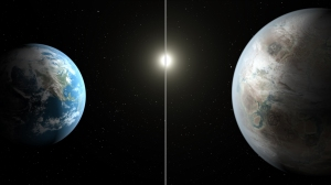 This artist's concept compares Earth (left) to the new planet, called Kepler-452b, which is about 60 percent larger in diameter. Credits: NASA/JPL-Caltech/T. Pyle