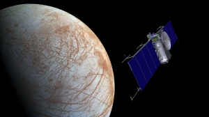 Artist concept of NASA's Europa mission spacecraft approaching its target for one of many flybys. Image credit: NASA/JPL-Caltech