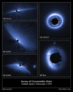 This is a set of images from a NASA Hubble Space Telescope survey of the architecture of debris systems around young stars. Ten previously discovered circumstellar debris systems, plus MP Mus (a mature protoplanetary disk of age comparable to the youngest of the debris disks), were studied.