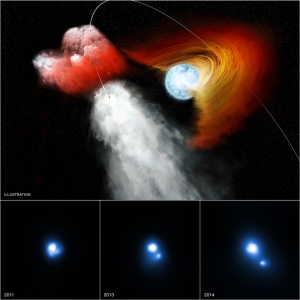 This trio of images contains evidence from NASA's Chandra X-ray Observatory that a clump of stellar material has been jettisoned away from a double star system at incredibly high speeds. This system, known as PSR B1259-63/LS 2883 – or B1259 for short – is comprised of two objects in orbit around one another. The first is a star about 30 times as massive as the Sun that has a disk of material swirling around it. The other is a pulsar, an ultra-dense neutron star left behind when an even more massive star underwent a supernova explosion. Credits: NASA/CXC/PSU/G.Pavlov et al