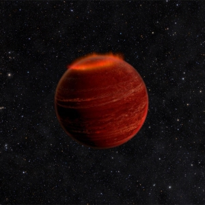This artist's concept shows an auroral display on a brown dwarf. If you could see an aurora on a brown dwarf, it would be a million times brighter than an aurora on Earth. Credits: Chuck Carter and Gregg Hallinan/Caltech