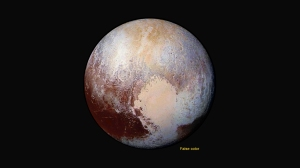 Space scientists combined four New Horizon images taken by LORRI with color data from the Ralph Instrument to produce this stunning global view of Pluto taken at a distance of 280,000 miles (450,000 kilometers) from the spacecraft.