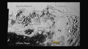 This LORRI image shows the surface terrain of Pluto are much more complicated than planetary scientists first thought. Notice the polygonal shape of many of the plains viewed, two magnificent mountain ranges, and cratered terrain that looks like ice has recently been deposited.