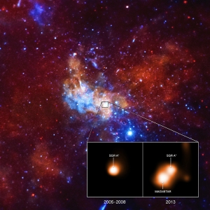 The x-ray image here taken by the Chandra X-ray Observatory shows a view of the region surrounding the supermassive black hole thought to exist at the center of the Milky Way. The red, green and blue seen in the main image are low, medium and high-energy x-rays respectively. The inset image to the left was taken between 2005 and 2008, when the magnetar wasn't detected. The image to the right was taken in 2013, when the neutron star appeared as the bright x-ray source viewed.
