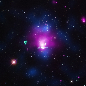 High-energy X-rays detected by NASA's Chandra X-ray Observatory are seen in pink in the image above, while radio data from NSF's Karl Jansky Very Large Array (VLA) is green. A map of the density of galaxies in the region, seen in blue was obtained by analysis of optical data.