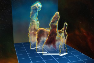 This visualisation of the three-dimensional structure of the Pillars of Creation within the star formation region Messier 16 (also called the Eagle Nebula) is based on new observations of the object using the MUSE instrument on ESO's Very Large Telescope in Chile. The pillars actually consist of several distinct pieces on either side of the star cluster NGC 6611. In this illustration, the relative distance between the pillars along the line of sight is not to scale. Image Credit: European Southern Observatory