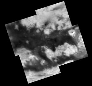 This mosaic of images of the same H-shaped region on Titan shows additional details on these surface features. Image credit: NASA's Jet Propulsion Laboratory.