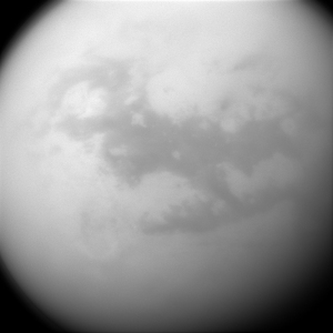 The shadowy region seen here is one of the most interesting parts discovered on Titan. In this H-shaped region planetary scientists detect the Dunelands of Titan.