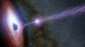Astronomers believe high energy particles, the corona, of supermassive black holes can create the massive X-ray flares viewed. Image credit. Jet Propulsion Laboratory.