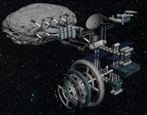 A complex asteroid mining module is required to build possible future space settlements. This mining module is fully automated and can mine and process materials ranging from metal to fiberglass to volatiles