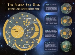 Archaeologists studying the Nebra sky disk think it was constructed through four different phases, over a four hundred year period.