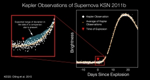 This graphic depicts a light curve of the newly discovered Type Ia supernova, KSN 2011b, from NASA's Kepler spacecraft. The light curve shows a star's brightness (vertical axis) as a function of time (horizontal axis) before, during and after the star exploded. The white diagram on the right represents 40 days of continuous observations by Kepler. In the red zoom box, the agua-colored region is the expected 'bump' in the data if a companion star is present during a supernova. The measurements remained constant (yellow line) concluding the cause to be the merger of two closely orbiting stars, most likely two white dwarfs. The finding provides the first direct measurements capable of informing scientists of the cause of the blast. Credits: NASA Ames/W. Stenzel