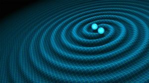 This is an artist's impression of gravitational waves generated by binary neutron stars . Credits: R. Hurt/Caltech-JPL