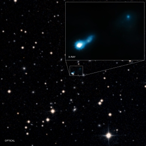 This main panel graphic shows Chandra's X-ray data that have been combined with an optical image from the Digitized Sky Survey. (Note that the two sources near the center of the image do not represent a double source, but rather a coincidental alignment of the distant jet and a foreground galaxy.) The inset shows more detail of the X-ray emission from the jet detected by Chandra. The length of the jet in 0727+409 is at least 300,000 light years. Many long jets emitted by supermassive black holes have been detected in the nearby Universe, but exactly how these jets give off X-rays has remained a matter of debate. In B3 0727+409, it appears that the CMB is being boosted to X-ray wavelengths. Credit: NASA/Chandra