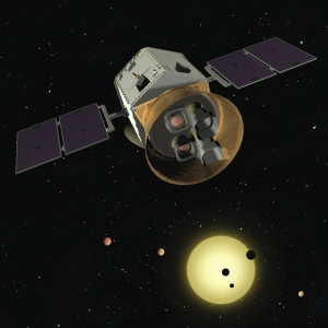 This artist's depiction of the Transiting Exoplanet Survey Satellite (TESS). Credit: TESS team