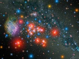 This very colorful artist's impression of the stars within this unknown star cluster. CreditNASA/ESA/STScI