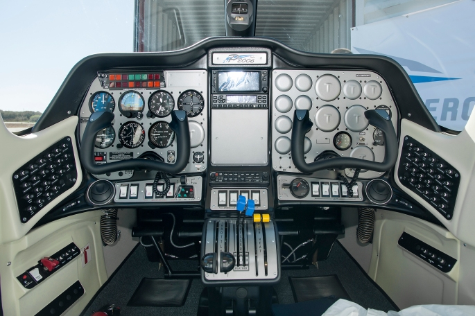 The Tecnam P2006T cockpit for the X-57, or Maxwell, will be the first all electric propulsion aircraft once the plane and wing integration is complete. Credits: NASA Photo / Ken Ulbrich