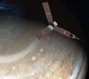 This artist's rendering shows NASA's Juno spacecraft above the north pole of Jupiter. Credits: NASA/JPL