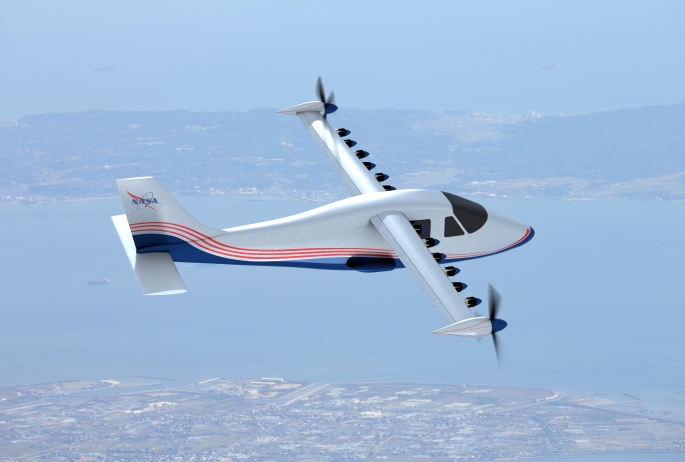 This artist's concept of NASA's X-57 Maxwell aircraft shows the plane's specially designed wing and 14 electric motors. NASA Aeronautics researchers will use the Maxwell to demonstrate that electric propulsion can make planes quieter, more efficient and more environmentally friendly. Credits: NASA Langley/Advanced Concepts Lab, AMA, Inc.