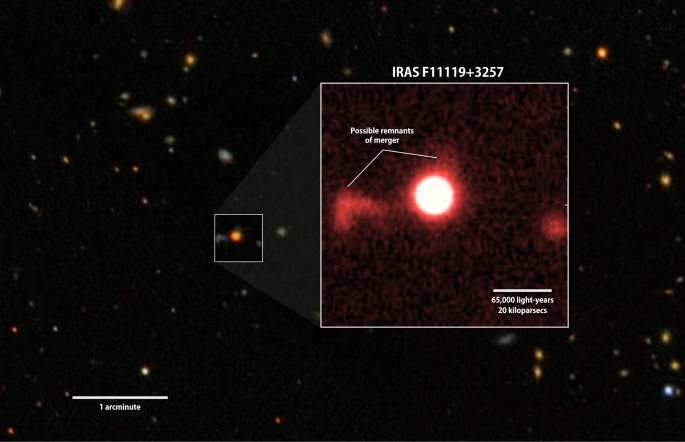 A red-filter image of IRAS F11119+3257 (inset) from the University of Hawaii's 2.2-meter telescope shows faint features that may be tidal debris, a sign of a galaxy merger. Background: A wider view of the region from the Sloan Digital Sky Survey. Credits: NASA's Goddard Space Flight Center/SDSS/S. Veilleux