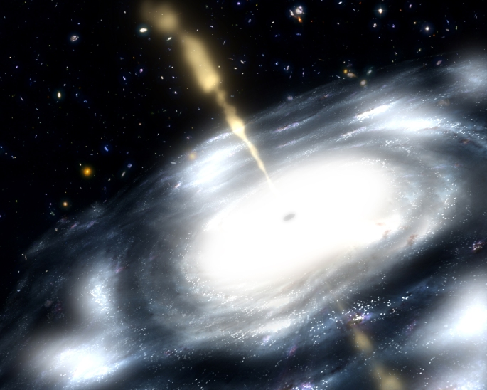 "This artist's rendition illustrates a rare galaxy that is extremely dusty, and produces radio jets. Scientists suspect that these galaxies are created when two smaller galaxies merge. A few billion years after the Big Bang, astronomers suspect that small galaxies across the Universe regularly collided forcing the gas, dust, stars, and black holes within them to unite. The clashing of galactic gases was so powerful it ignited star formation, while fusing central black holes developed an insatiable appetite for gas and dust. With stellar nurseries and black holes hungry for galactic gas, a struggle ensued. Scientists say this struggle for resources is relatively short-lived, lasting only 10 to 100 million years. Eventually, much of the gas will be pushed out of the galaxy by the powerful winds of newborn stars, stars going supernovae (dying in a cataclysmic explosion), or radio jets shooting out of central supermassive black holes. The removal of gas will stunt the growth of black holes by ""starving'' them, and quench star formation. They believe that these early merging structures eventually grew into some of the most massive galaxies in the Universe."