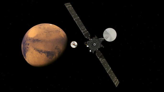 This artist's concept from the European Space Agency (ESA) depicts the Trace Gas Orbiter and its entry, descent and landing demonstrator module, Schiaparelli, approaching Mars. The separation occurred on Oct. 16, 2016. The orbiter and the lander are components of the ExoMars 2016 mission of ESA and Roscosmos. Image Credit: ESA/ATG medialab