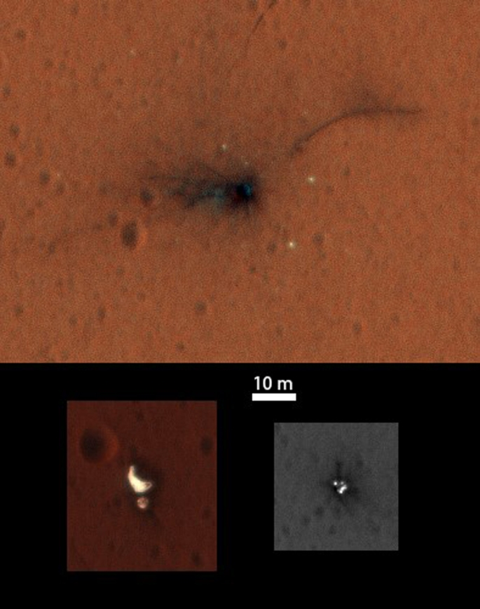 "On Nov. 1, 2016, the High Resolution Imaging Science Experiment (HiRISE) camera on NASA's Mars Reconnaissance Orbiter observed the impact site of Europe's Schiaparelli test lander, gaining the first color view of the site since the lander's Oct. 19, 2016, arrival. These cutouts from the observation cover three locations where parts of the spacecraft reached the ground: the lander module itself in the upper portion, the parachute and back shell at lower left, and the heat shield at lower right. The heat shield location was outside of the area covered in color. The scale bar of 10 meters (32.8 feet) applies to all three cutouts. Where the lander module struck the ground, dark radial patterns that extend from a dark spot are interpreted as ""ejecta,"" or material thrown outward from the impact, which may have excavated a shallow crater. From the earlier image, it was not clear whether the relatively bright pixels and clusters of pixels scattered around the lander module's impact site are fragments of the module or image noise. Now it is clear that at least the four brightest spots near the impact are not noise. These bright spots are in the same location in the two images and have a white color, unusual for this region of Mars. The module may have broken up at impact, and some fragments might have been thrown outward like impact ejecta. At lower right are several bright features surrounded by dark radial impact patterns, located where the heat shield was expected to impact. The bright spots appear identical in the Nov. 1 and Oct. 25 images, which were taken from different angles, so these spots are now interpreted as bright material, such as insulation layers, not glinting reflections. Credits: NASA/ESA/JPL/Caltech"
