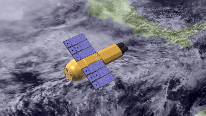 This illustration depicts the Suzaku spacecraft. Suzaku (originally known as Astro-E2) was launched July 10, 2005, and maintains a low-Earth orbit while it observes X-rays from the universe. The satellite was developed at the Japanese Institute of Space and Astronautical Science (part of the Japan Aerospace Exploration Agency, JAXA) in collaboration with Japanese and U.S. institutions, including NASA. Credit: NASA's Goddard Space Flight Center