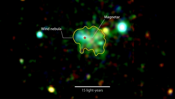 This X-ray image shows extended emission around a source known as Swift J1834.9-0846, a rare ultra-magnetic neutron star called a magnetar. The glow arises from a cloud of fast-moving particles produced by the neutron star and corralled around it. Color indicates X-ray energies, with 2,000-3,000 electron volts (eV) in red, 3,000-4,500 eV in green, and 5,000 to 10,000 eV in blue. The image combines observations by the European Space Agency's XMM-Newton spacecraft taken on March 16 and Oct. 16, 2014. Credits: ESA/XMM-Newton/Younes et al. 2016