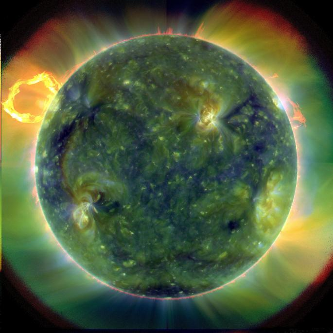 A full-disk multiwavelength extreme ultraviolet image of the sun taken by SDO on March 30, 2010. False colors trace different gas temperatures. Reds are relatively cool (about 60,000 Kelvin, or 107,540 F); blues and greens are hotter (greater than 1 million Kelvin, or 1,799,540 F). Credits: NASA/Goddard/SDO AIA Team